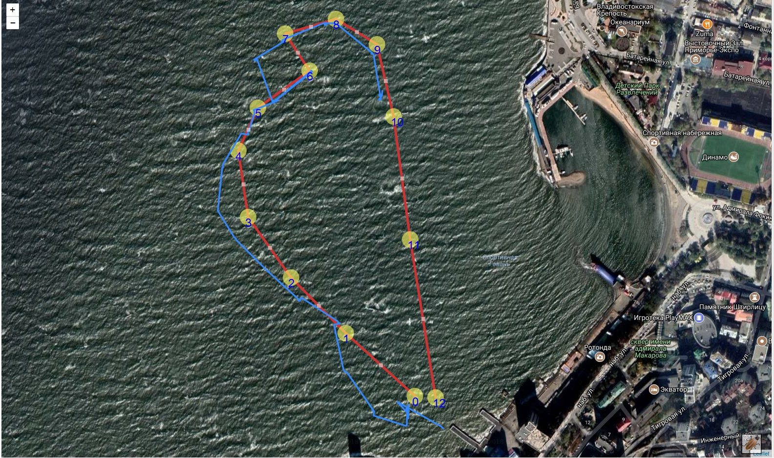 Трек прохода подводным глайдером маршрута соревнований по морской робототехнике