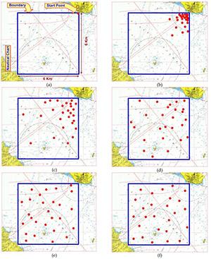Моделирование роя АНПА, постепенно равномерно распределяющихся по ограниченной акватории