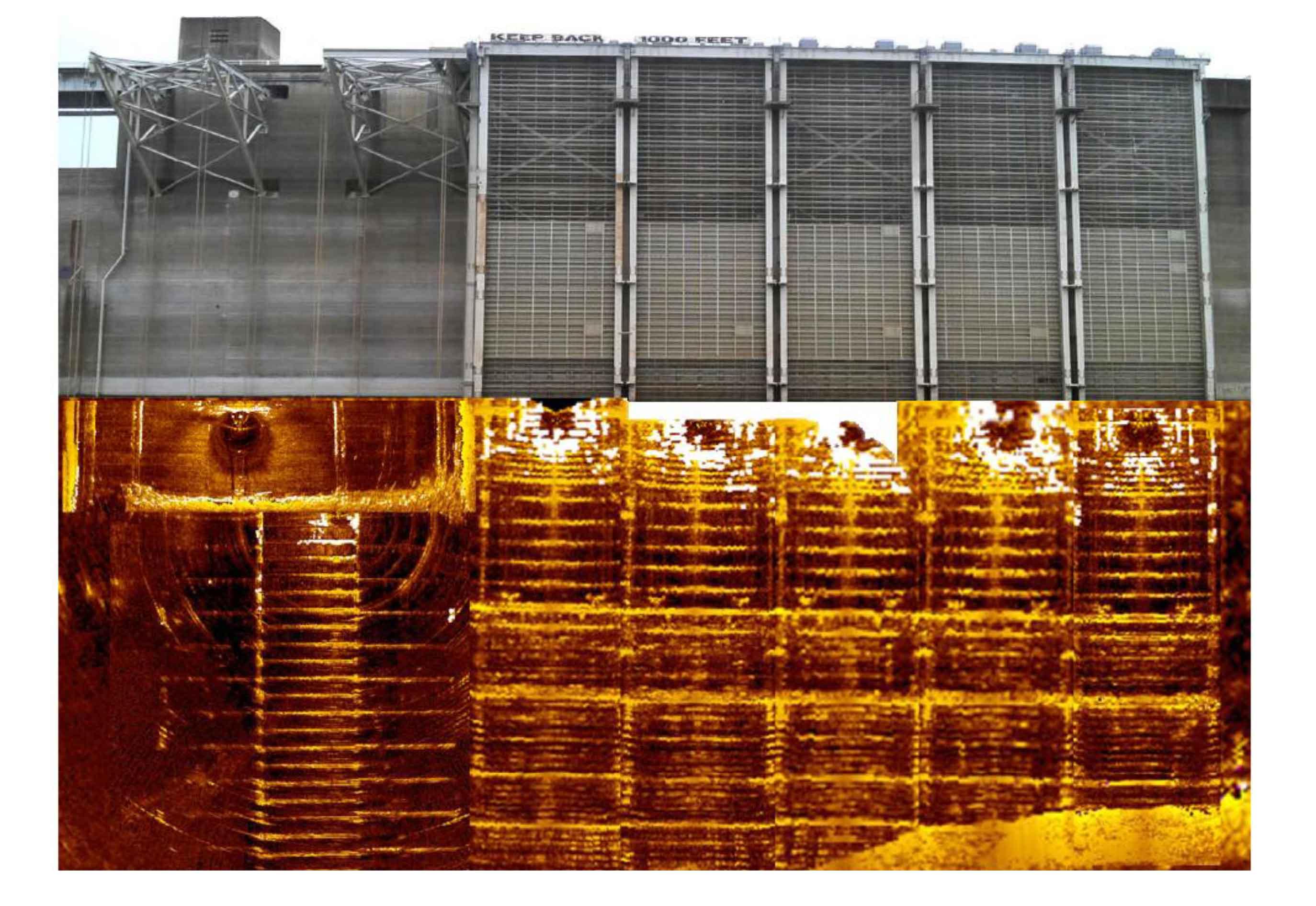 Гидроакустический осмотр стенки многочастотным сканирующим гидролокатором